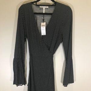 BCBG Black Polka Dot Wrap Dress